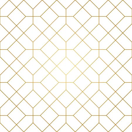 Seamless geometric pattern. Golden lines on white background. Texture with rhombus and nodes. Archivio Fotografico - 141092087