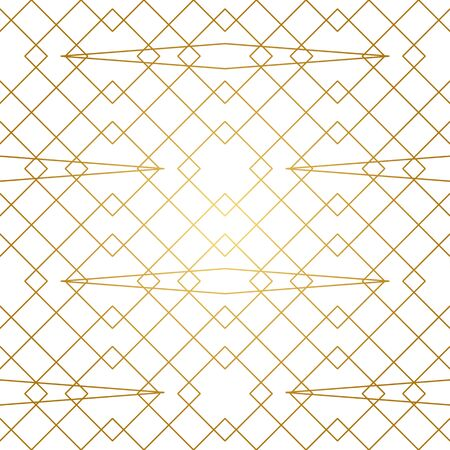 Seamless geometric pattern. Golden lines on white background. Texture with rhombus and nodes. Archivio Fotografico - 141092090