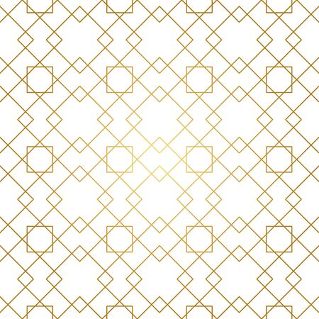 Seamless geometric pattern. Golden lines on white background. Texture with rhombus and nodes. Archivio Fotografico - 141092091