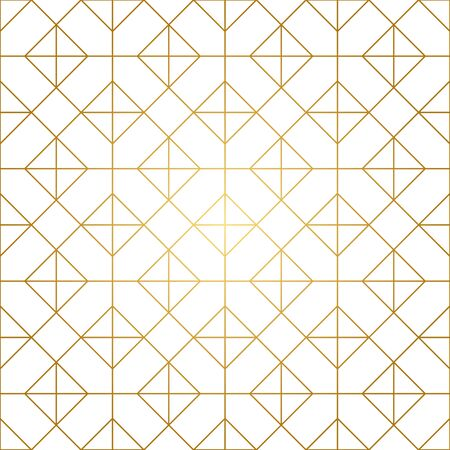 Seamless geometric pattern. Golden lines on white background. Texture with rhombus and nodes. Archivio Fotografico - 141092093