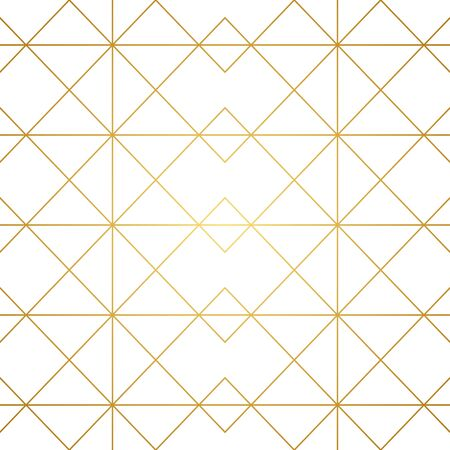 Seamless geometric pattern. Golden lines on white background. Texture with rhombus and nodes. Archivio Fotografico - 141092095