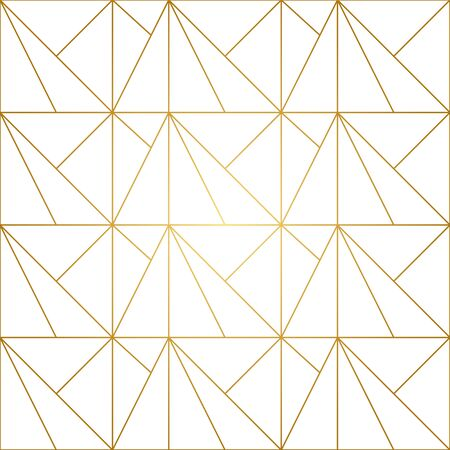 Seamless geometric pattern with golden lines on white background. Endless texture of rhombus and nodes. Archivio Fotografico - 141092100
