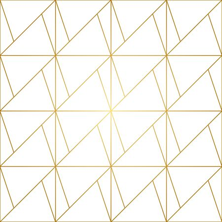 Seamless geometric pattern with golden lines on white background. Endless texture of rhombus and nodes. Vettoriali
