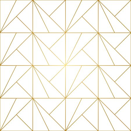 Seamless geometric pattern with golden lines on white background. Endless texture of rhombus and nodes. Archivio Fotografico - 141092121
