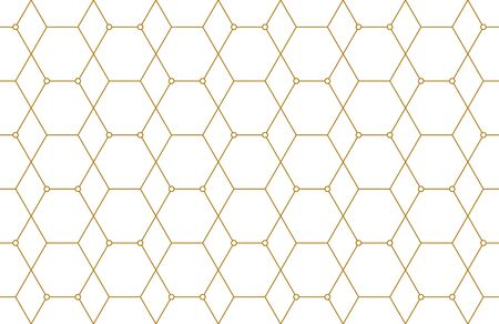 Golden lines, hexagons, rhombs and nodes seamless pattern. Geometric abstract repeating texture with intersecting hexagonal shapes. Gold colored background.