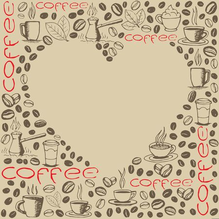 Coffee icons background with blank heart shape inside. Hand drawn sketchy doodles pattern.