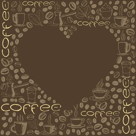 Coffee doodles background with blank heart shape inside. Hand drawn sketchy symbols pattern.
