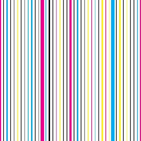 Colorful vertical striped seamless pattern. Repeating texture with cyan, magenta, yellow and black parallel lines on white background. Multicolor lined vector illustration.