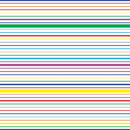 Colorful horizontal striped seamless pattern. Repeating texture with rainbow colored parallel lines on white background. Multicolor lined vector illustration.