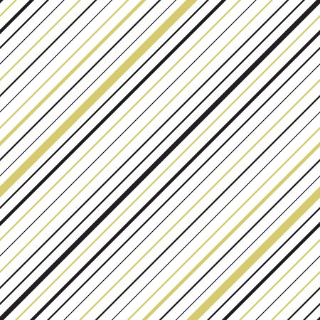 Golden colored diagonal striped seamless pattern. Repeating texture with goldish and black parallel lines on white background. Vettoriali