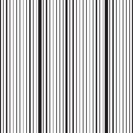 Vertical striped seamless pattern. Repeating texture with black parallel straight lines on white background. Lined vector illustration.