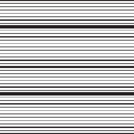 Horizontal striped seamless pattern. Repeating texture with black parallel straight lines on white background. Lined vector illustration.