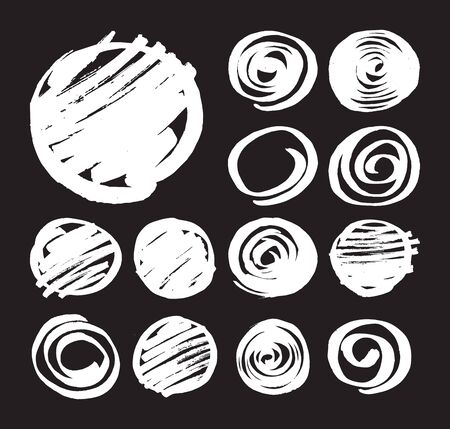 Set of shaded circles and spirals hand drawn by felt pen. White marker design elements isolated on black background. Collection of sketched round abstract symbols. Vector art in eps8 format.