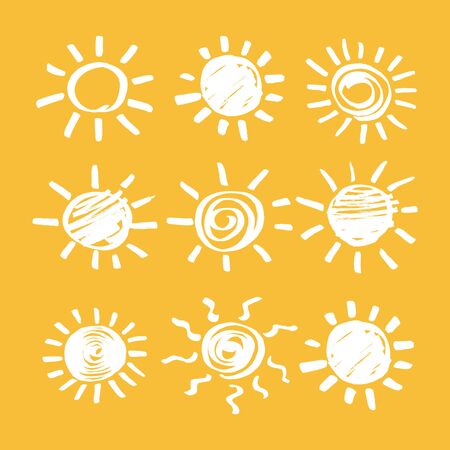 Sun vector design elements. Set of sunshine symbols hand drawn by marker. Felt pen scribble sunshine rays isolated signs. Sketch EPS8 illustration. Vettoriali