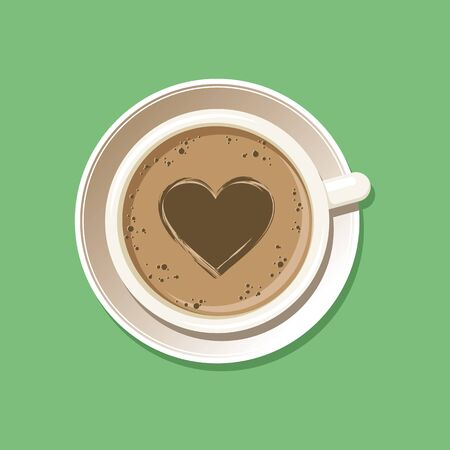 Cup of espresso with latte art heart top view. Cappuccino coffee mug on white saucer with etching pattern. Isolated on green background. Vector eps8 illustration. Vettoriali