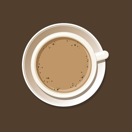 Cup of espresso top view. Coffee mug on white saucer. Isolated on brown background. Vector eps8 illustration.