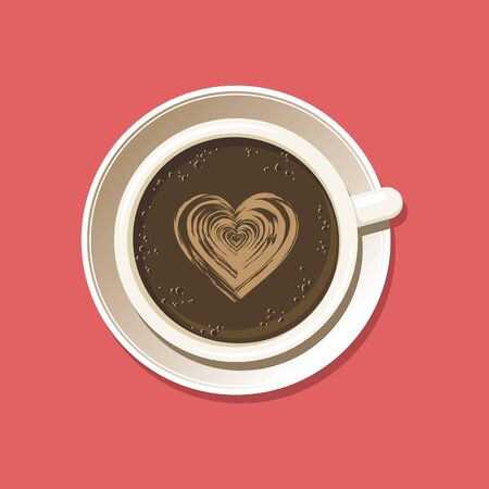 Cup of espresso with latte art heart top view. Cappuccino coffee mug on white saucer with etching pattern. Isolated on pink background. Vector eps8 illustration.
