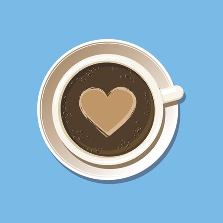 Cup of espresso with latte art heart top view. Cappuccino coffee mug on white saucer with etching pattern. Isolated on sky blue background. Vector eps8 illustration.