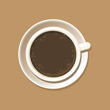 Cup of coffee top view. Espresso mug on white saucer. Isolated on brown background. Vector eps8 illustration. Vettoriali
