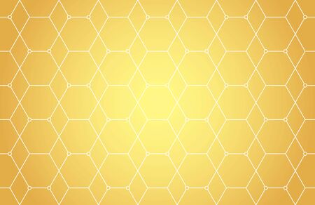 Lines, hexagons, rhombs and nodes seamless pattern in golden tones. Geometric abstract repeating texture with intersecting hexagonal shapes. Gold colored background.