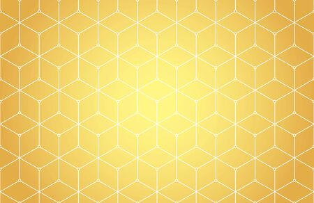 Hexagons, rhombs and nodes seamless pattern in golden colors. Geometric abstract repeating texture with intersecting hexagonal shapes. Gold colored background.