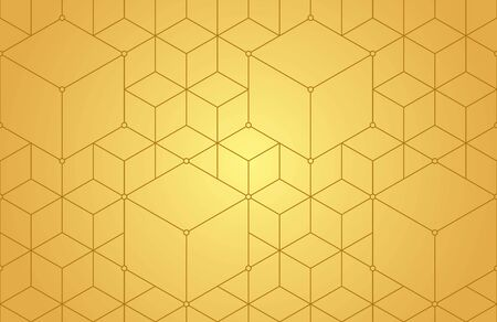 Cubes, hexagons, rhombs and nodes seamless pattern in golden tones. Geometric abstract repeating texture with intersecting hexagonal shapes. Vettoriali