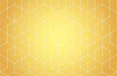 Golden lines, hexagons and nodes seamless pattern. Geometric abstract repeating texture with intersecting hexagonal shapes. Gold colored background.