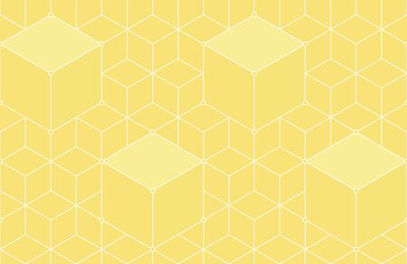 Cubes, hexagons, rhombs and nodes seamless pattern in golden colors. Geometric abstract repeating texture with intersecting hexagonal shapes. Gold colored background.