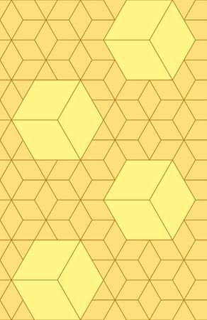 Cubes, hexagons and rhombus seamless pattern in golden colors. Geometric abstract repeating texture with intersecting hexagonal shapes. Gold colored background.