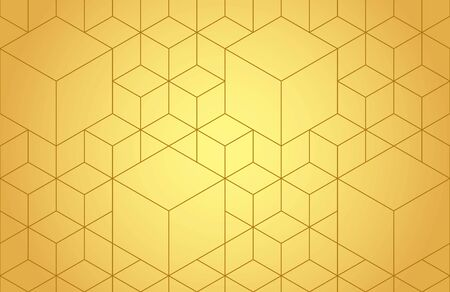 Cubes, hexagons and rhombs seamless pattern in golden tones. Geometric abstract repeating texture with intersecting hexagonal shapes. Gold colored background. Vettoriali
