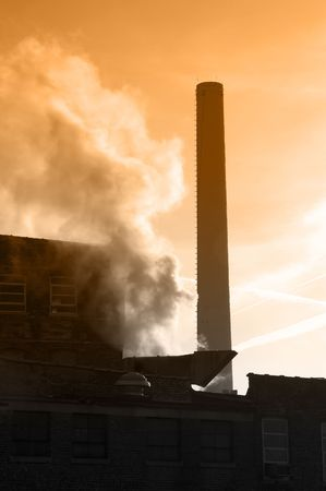 close up chimney: Smokestack closeup of industrial factory Stock Photo