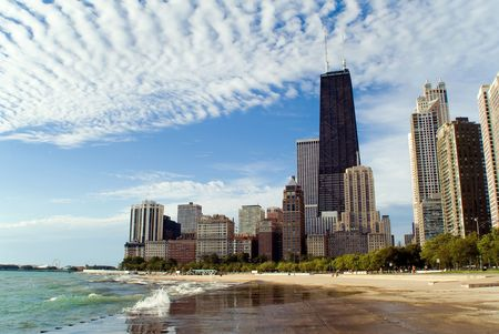 Chicago lakefront skyline with dramatic clouds Stock Photo