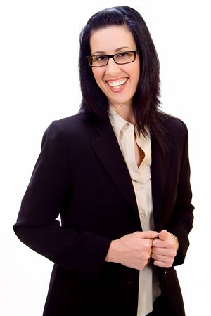Casual corporate portrait of female executive smiling Stock Photo - 520266