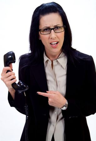 solicitation: Woman holding an old school phone pointing finger