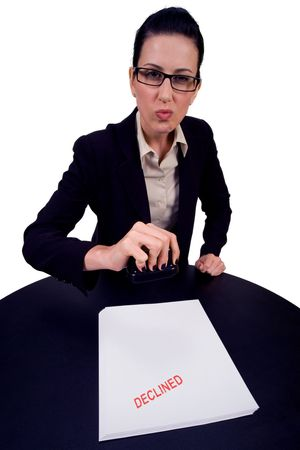 Female bureaucrat declining your ... photo