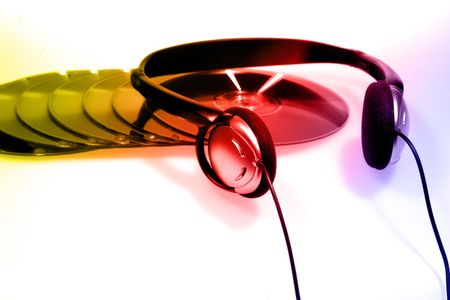 duplication: Concept image showing multiple blank cds and headphones