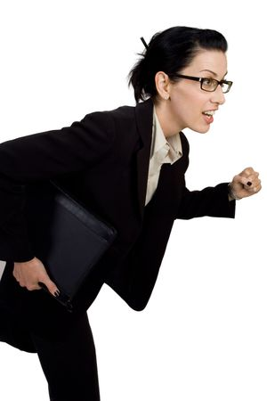 rushing hour: Female with briefcase running