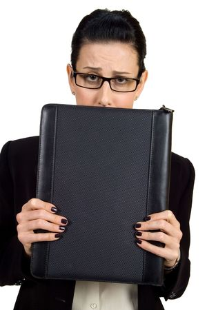 'hide out': Female holding briefcase looking worried
