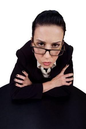 Weibliche geben Ihnen eine seri�se Look  Lizenzfreie Bilder