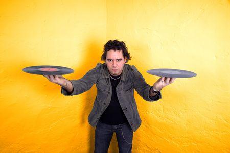DJ-Balancing zwei Schallplatten  Lizenzfreie Bilder