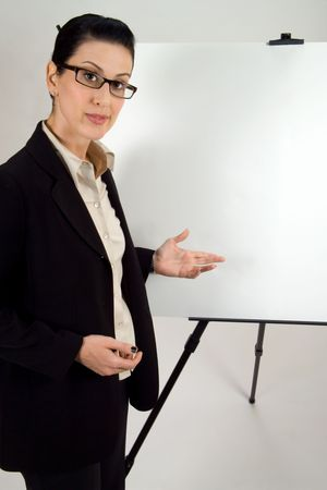 Weiblicher Vorf�hrer mit unbelegte Darstellung whiteboard