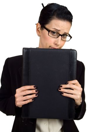 Female holding briefcase looking shy