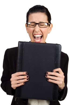 Female holding black briefcase screaming photo