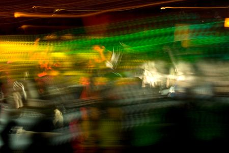 Abstract of nightclub crowd in motion
