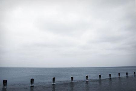 Winter lake landscape with gloomy skies Stock Photo - 747218