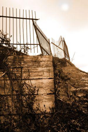 underprivileged: Broken gate on deserted urban bridge Stock Photo