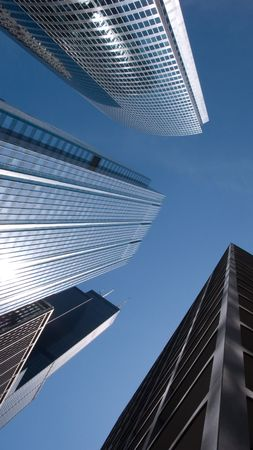 Modern corporate glass and steel skyscrapers