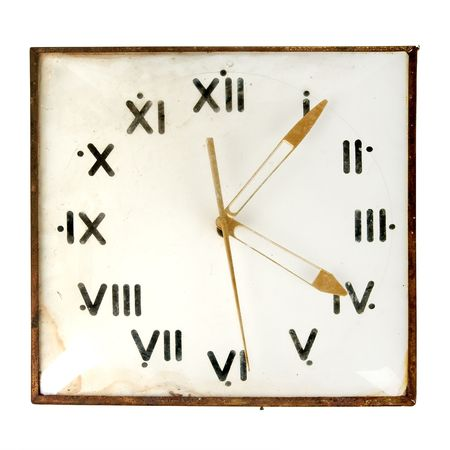 Dusty retro wall clock isolated on white background