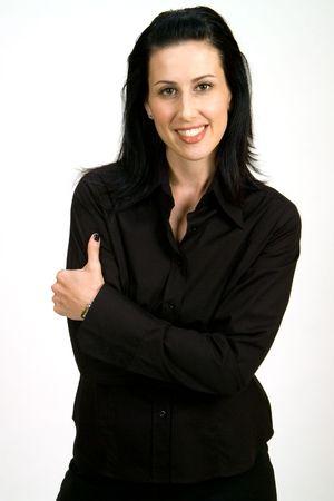 Casual corporate headshot of female executive smiling on white background photo