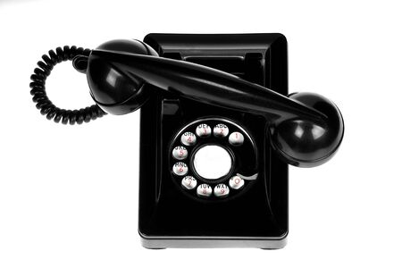 Vintage retro rotary telephone on white background Stock fotó
